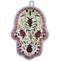 White Pomegranates Small Embroidered Chamsa