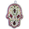 Red Pomegranates Large Embroidered Chamsa