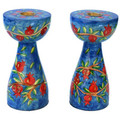 Blue Brances and Pomegranates New Shape Medium Candlesticks