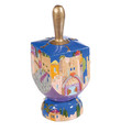 Light Blue Jerusalem Dreidel + Stand