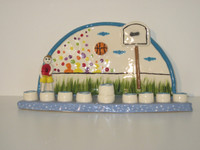 Basketball Ceramic Menorah