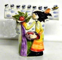 Chava Picking Apples Ceramic Menorah