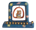 Teddy Bear on Swing Ceramic Menorah