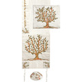 Embroidered Raw Silk Tallit - Tree of Life