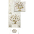 Embroidered Raw Silk Tallit - Tree of Life - Gold