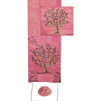 Embroidered Raw Silk Tallit - Tree of Life -  Pink
