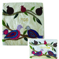 Raw Silk Matzah Cover  - Doves (EM-MAS38)