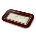 Wood and Silverplate Challah Tray with Glass Insert
