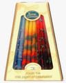 Sefad - Decorative Colored (Blues, Yellows-Orange, Red) Israeli Chanukah Candles