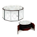 Wood & Glass Mirror 3-Tier Seder Plate (2746a)