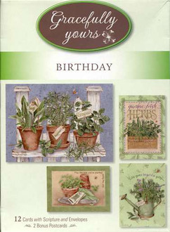 12 card collection of inspirational birthday cards with garden pictures by Jane Shasky