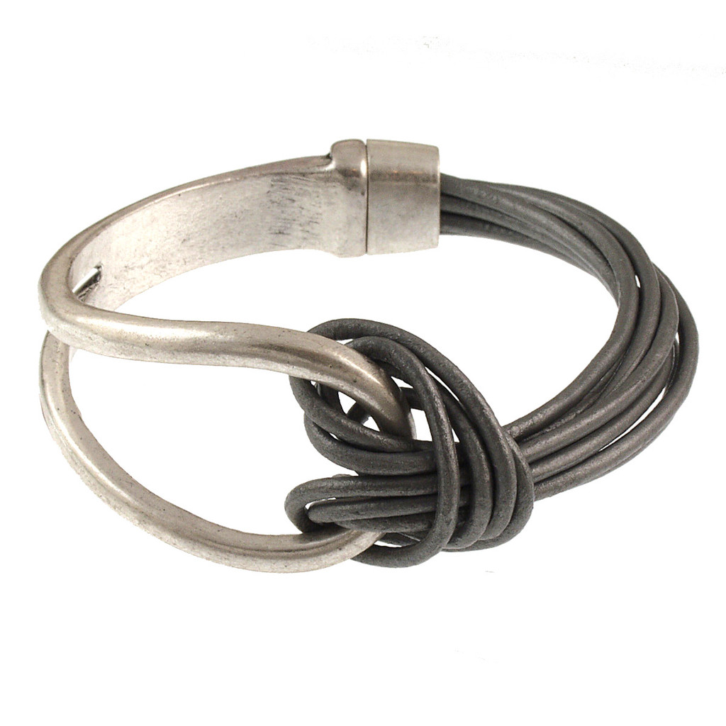 6065-1 - Matte Silver/Grey Leather Magnetic Bracelet