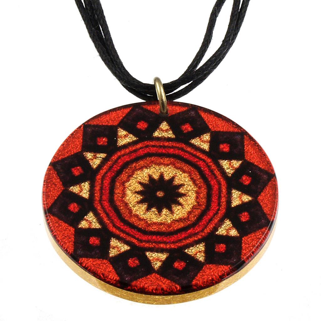 4130-138 - Orange Tribal Pendant on Cord