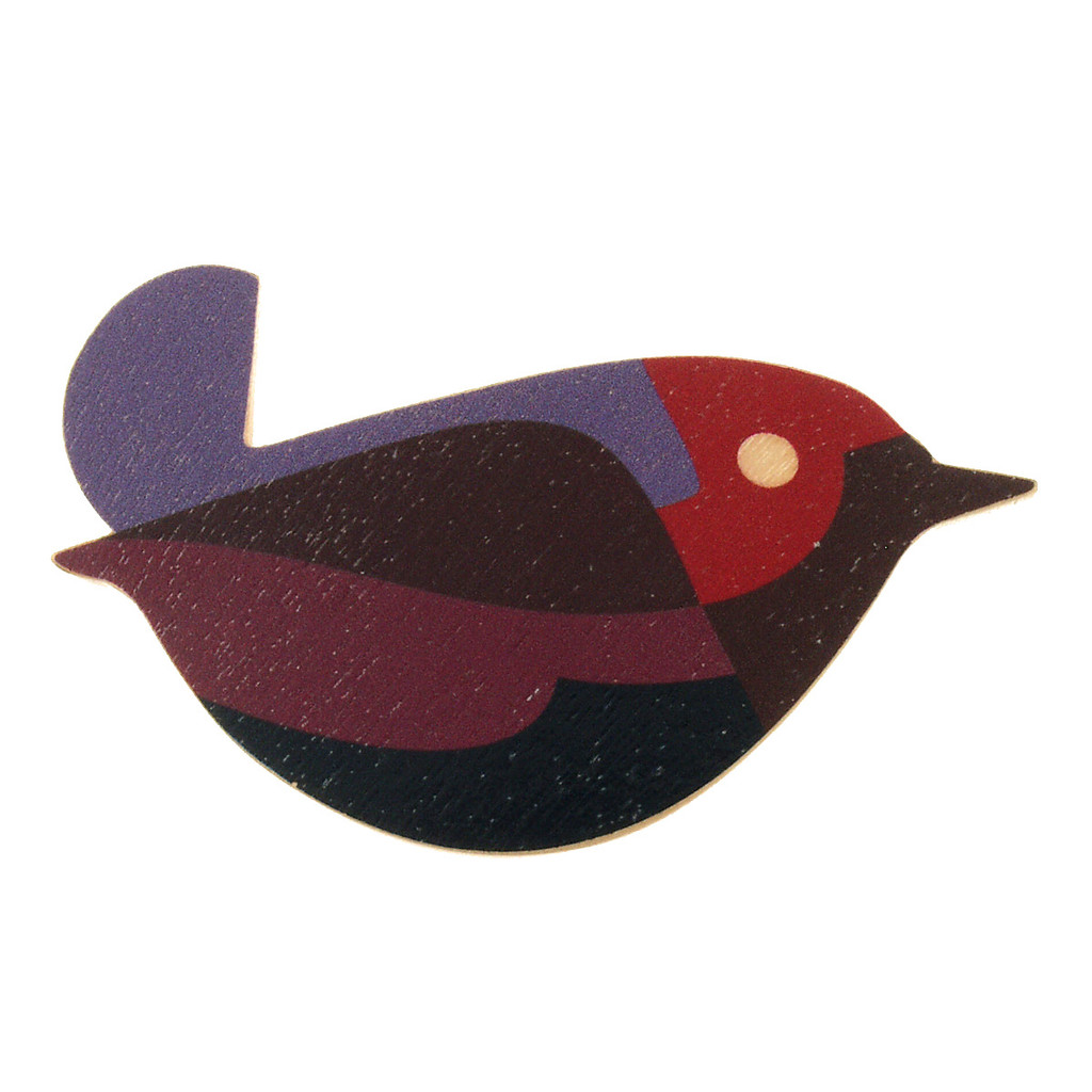 4020-2 - Red Bird Wood Brooch