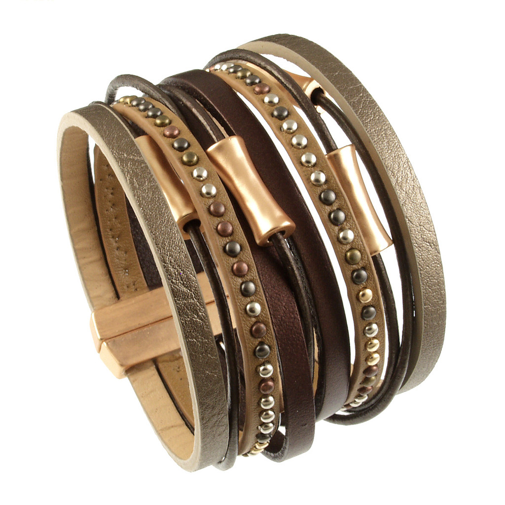 6898-59 - Matte Gold/Metallic Copper Wide Band Magnetic Bracelet