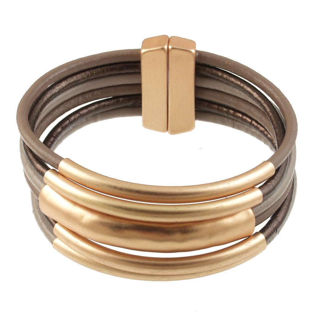 6105-100 - Matte Gold/Taupe Tube Magnetic Bracelet