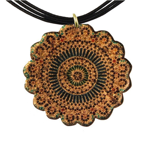 4130-70 - Green and Blue Kaleidoscope Pendant On Cord