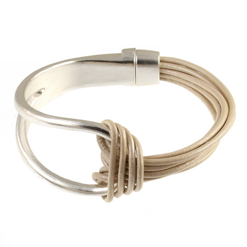 6065-8 - Matte Silver/Ivory Leather Magnetic Bracelet
