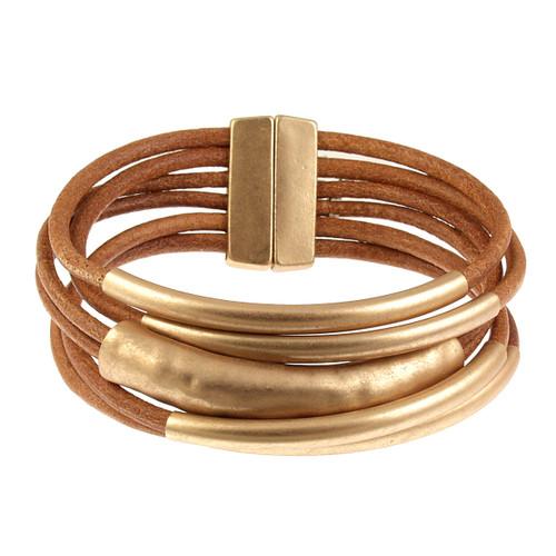 6105-3 - Matte Gold/Camel Tube Magnetic Bracelet