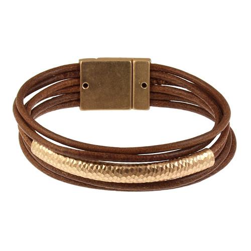 6109-3 - Matte Gold/Camel Tube Magnetic Bracelet