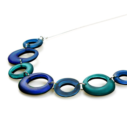 1723-2 - Hollow Circles Necklace Turquoise Combi
