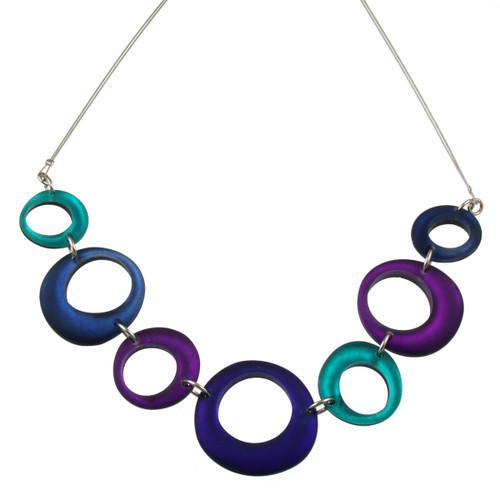 1723-21 - Hollow Circles Necklace Purple Combi
