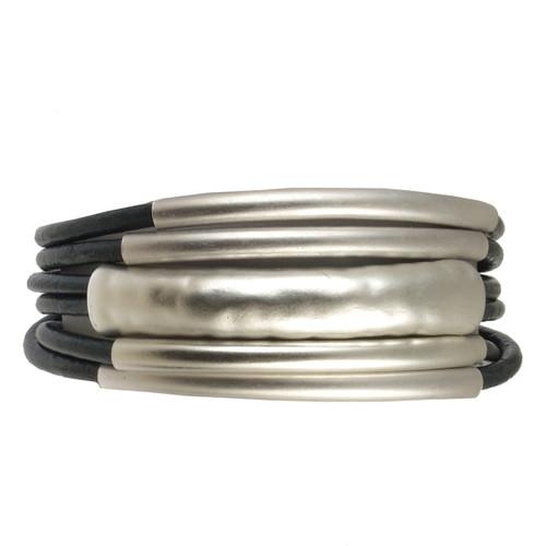 6105-8 - Matte Silver/Navy Tube Magnetic Bracelet