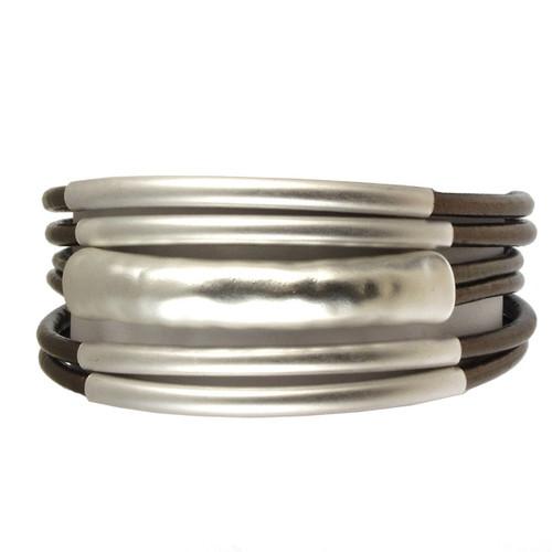6105-58 - Matte Silver/Metallic Bronze Magnetic Bracelet