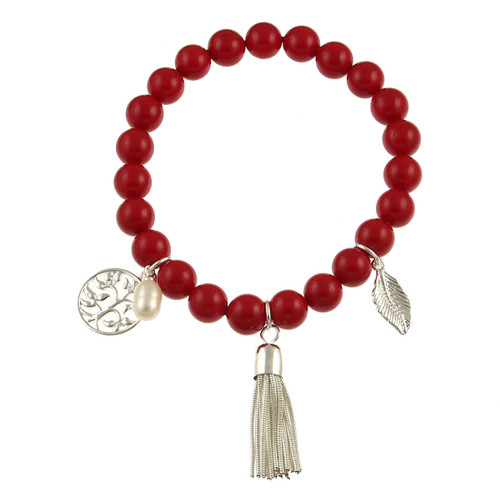 476-1 - Stretch Pearl and Shell Red Bracelet