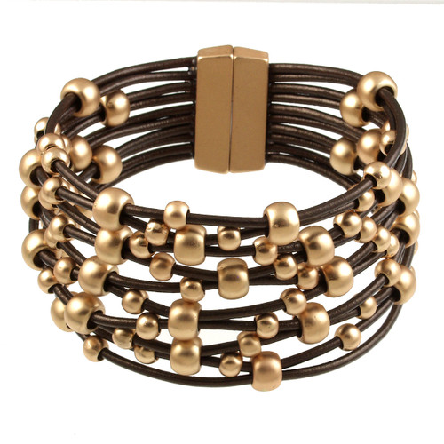 6152-59 - Matte Gold/Metallic Copper Wide Woven Magnetic Bracelet
