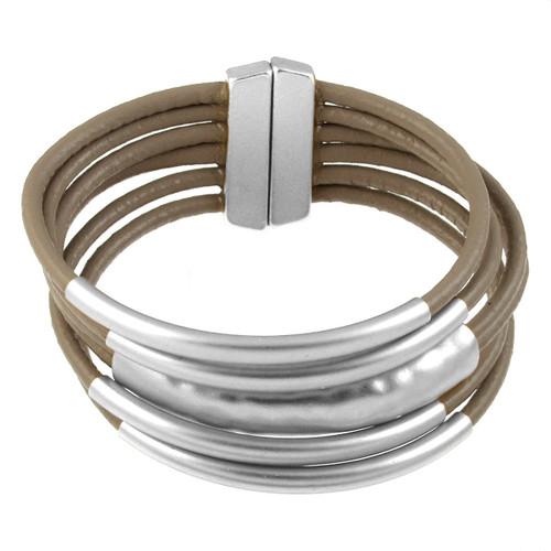 6105-2 - Matte Silver/Taupe Magnetic Bracelet