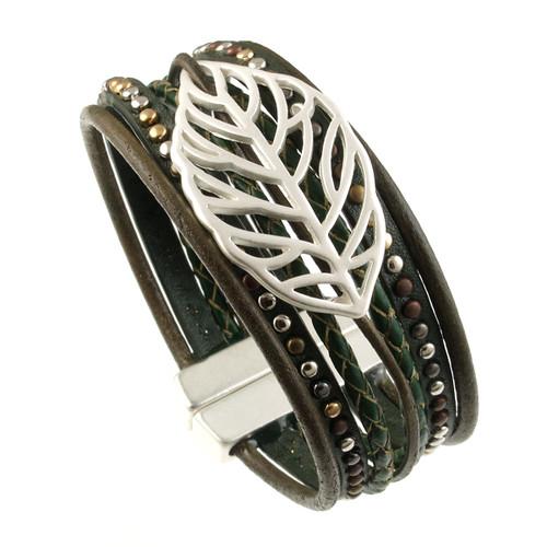 6193-42 - Matte Silver/Olive Autumn Leaf Magnetic Bracelet