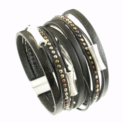 6898-4 - Matte Silver/Black Wide Band Magnetic Bracelet