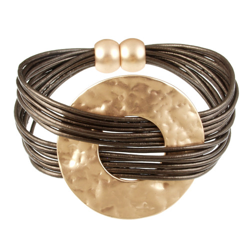 6710-59 - Matte Gold/Metallic Copper Hammered Metal Wide Ring Magnetic Bracelet