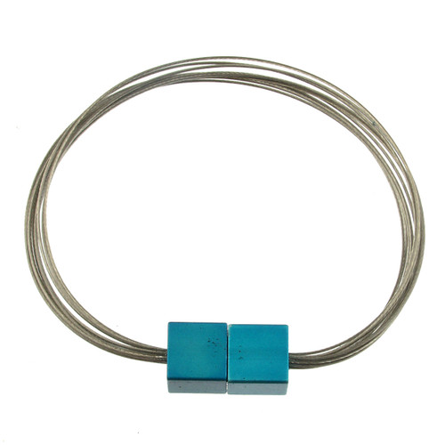 6171-2 - Magnetic Cube Bracelet Matte Silver/Turquoise