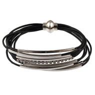 6073-2 - Magnetic Crystal Bracelet Rhodium/Black