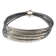6073-3 - Magnetic Crystal Bracelet Antiqued Silver/Grey