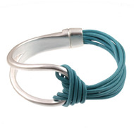 6065-5 - Leather Magnetic Bracelet Turquoise