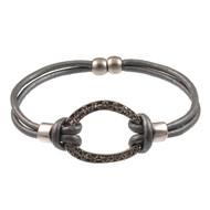 7683-1 - 2 Strand Magnetic Antiqued Silver Crystal Bracelet