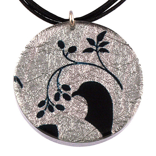 4130-13 - Small Black/White Floral Dove Pendant On Cord
