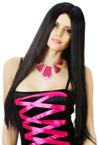 Wicked Witch Morticia Long Black Costume Wig (High Quality Fibre)