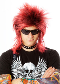 Black/Red Spiky Punk Mullet Costume Wig