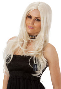 Supermodel Long Platinum Blonde Costume Wig (High Quality Fibre) - by Allaura