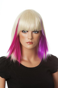 DELUXE Blonde with Pink/Purple Highlights Costume Wig