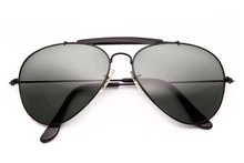 SUNGLASSES - 80s Mens Aviator Black Glasses