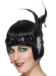 1920's Black & Silver Flapper Feather  Headband