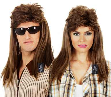 80's Bogan Brown Mullet Costume Wig (Unisex) - by Allaura