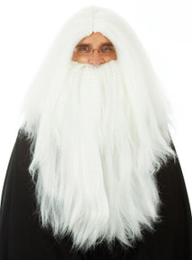 Long White Merlin Wizard Costume Wig & Beard (Deluxe) - by Allaura
