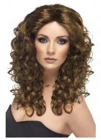 Glamour Wig, Brown, Long, Curly