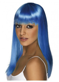 Glamourama Wig, Neon Blue, Long, Straight with Fringe